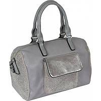 Красивая женская серая сумка-бочонок из эко-кожи в сочетании с искусственной замшей украшена стразами
