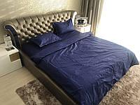 Семейный комплект качественного постельного белья Страйп-Сатин (100% хлопок) Постільна білизна