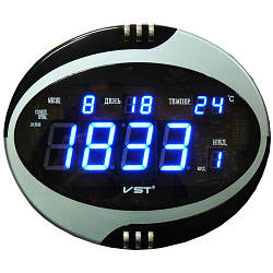 Часы сетевые VST 770 Т-5 говорящие синие, настенные пульт Д/У (электронные часы настольные, настенные)