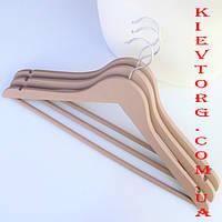Плечикивешалки деревянные soft-touch бежевые, 44 см,  набор 3 шт