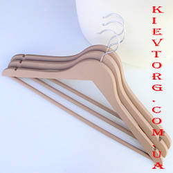 Набор вешалок тремпелей плечиков деревянных для одежды soft-touch (прорезиненных) бежевых, 44 см, 3 шт