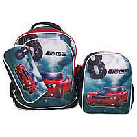 Рюкзак школьный  с пеналом и ланчбоксом   Glossy Bird GB2262 Горят фары