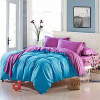 Евро комплект постельного белья ранфорс двухцветный, постельное белье из хлопка с простыней на резинке