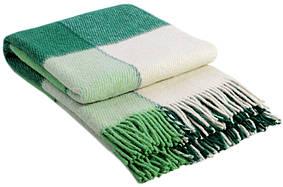 Шерстяной плед Vladi Эльф 1 Полуторный 140х200 см Зеленый с белым 1005494, КОД: 1675649