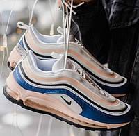 Nike Air Max 97, Blue/Beige | кроссовки женские; бежевые/синие; рефлектив; весенние/осенние