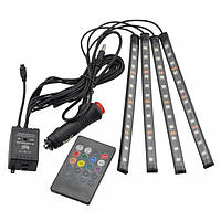 Цветная подсветка для авто водонепроницаемая RGB led HR-01678 7 цветов 4 ленты