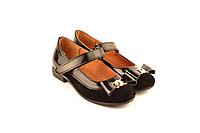Туфли детские для девочек с ремешком на липучке замша черные 332106