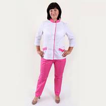 Жіночий медичний костюм Avrora біло-рожевий, фото 2