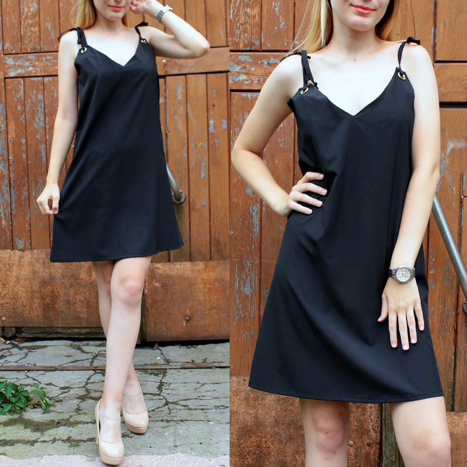 Чёрное летнее платье на завязках с люверсами