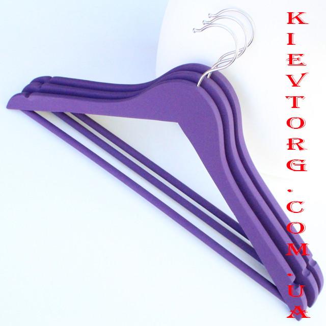 Набор вешалок тремпелей плечиков деревянных для одежды soft-touch (прорезиненных) фиолетовых, 44 см, 3 шт