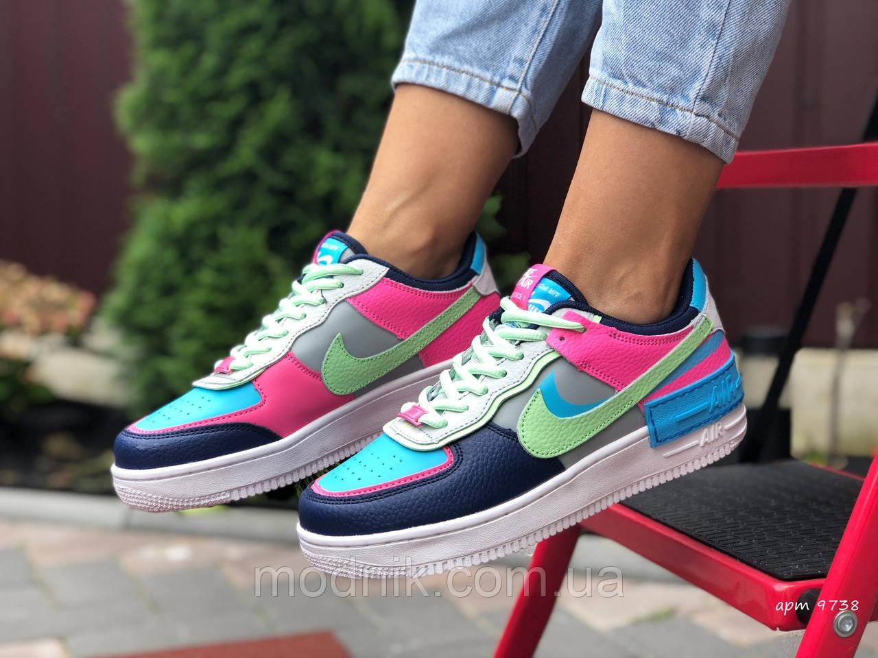 Женские кроссовки Nike Air Force 1 Shadow (серо-салатовые с розовым) 9738