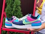 Женские кроссовки Nike Air Force 1 Shadow (серо-салатовые с розовым) 9738, фото 4