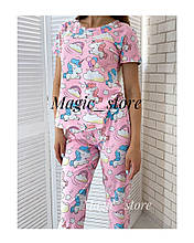 Женская пижама, турецкий хлопок, р-р М(42); Л(44); ХЛ(46) (нежно-розовый)