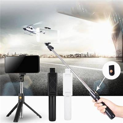 Селфи палка-тренога монопод штатив для телефона с пультом Bluetooth K07 Черный