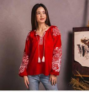 Современная стильная женская вышиванка крестиком из качественной ткани
