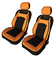 Майки-накидки на передние сиденья черно-оранжевого цвета
