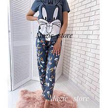 Женская пижама, турецкий хлопок, р-р М(42); Л(44); ХЛ(46) (светло-серый)