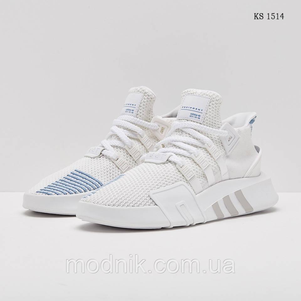 Мужские кроссовки Adidas EQT Bask ADV (бело-голубые) - Унисекс KS 1514