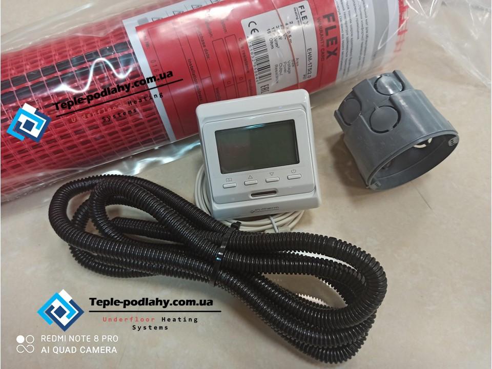 Мат для теплого пола в квартире, FLEX EHM - 175 / 6м / 3 м2 / 525 Вт комплект с програматором In-Therm E-51