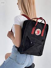 Спортивний рюкзак Kanken Fjall Raven 16L Black/Bordo Рефлектив (чорно-бордовий) - Унісекс 474KN