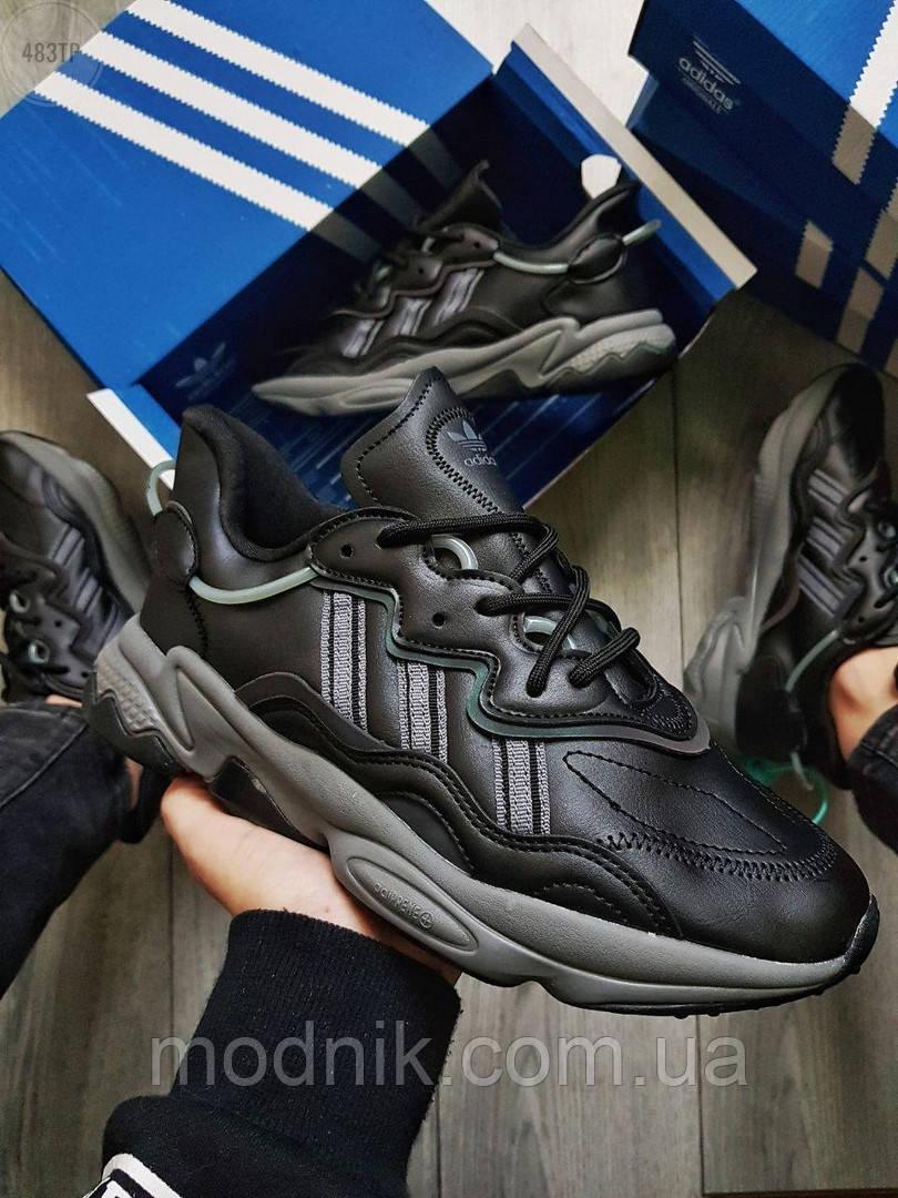 Мужские кроссовки Adidas Ozweego Black Leather (черные) 483TP