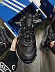 Мужские кроссовки Adidas Ozweego Black Leather (черные) 483TP, фото 3