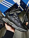 Мужские кроссовки Adidas Ozweego Black Leather (черные) 483TP, фото 6
