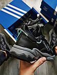 Мужские кроссовки Adidas Ozweego Black Leather (черные) 483TP, фото 7