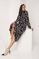 Женское осеннее платье-рубашка Рапитал (Темно-синее | S, M, L)