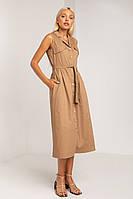 Женское платье из коттона с пиджачным воротником Антарес (Капучино | S, M, L)