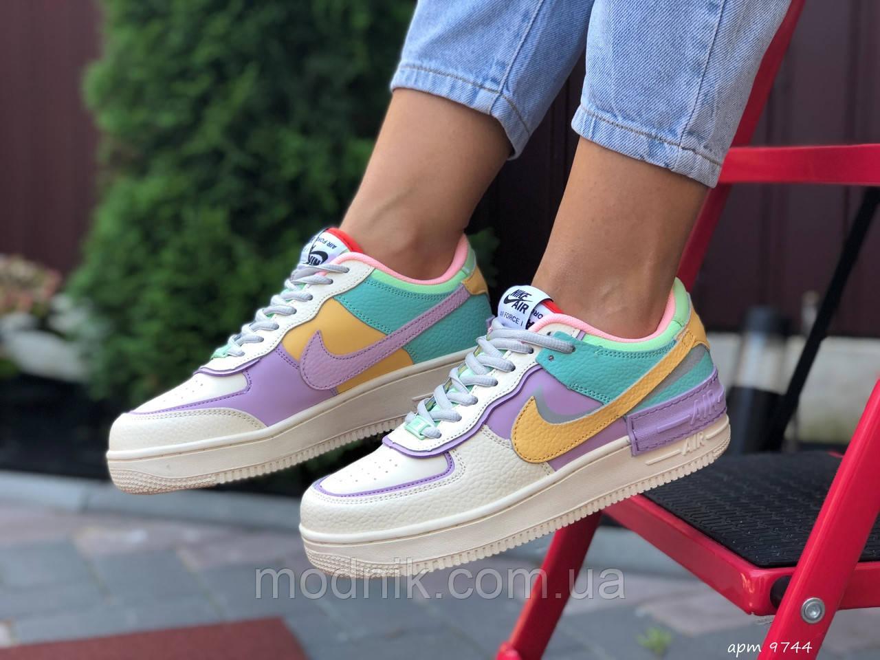 Женские кроссовки Nike Air Force 1 Shadow (бежево-фиолетовые) 9744