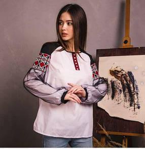 Женская натуральная вышиванка на поплине  с этническим орнаментом