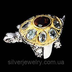 Серебряное кольцо с ГРАНАТОМ и АКВАМАРИНОМ  (натуральный), серебро 925 пр. Размер 18