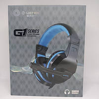 Игровые проводные наушники G-Listen G1 с микрофоном Чёрные с Синим