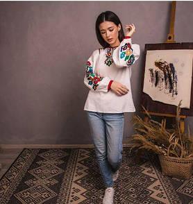 Уникальная нарядная стильная блуза вышиванка на домотканом полотне