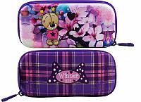 Пенал для девочки жесткий Winner One фиолетовый в клетку с мишкой и цветами рисунок с обеих сторон