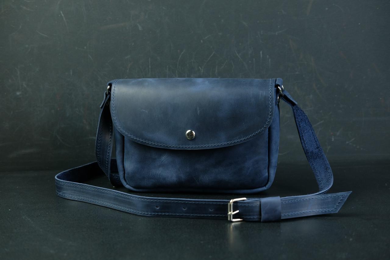 Сумка жіноча. Шкіряна сумочка Мія, Вінтажна шкіра, колір Синій
