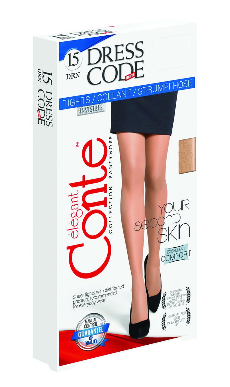 Жіночі  тілесні, капронові колготки Conte DRESS CODE для  офіса 15 den