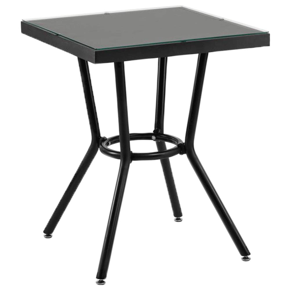 Стол Tilia Kobe 70x70 см столешница из стекла черный - черный