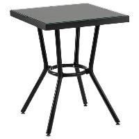 Стол Tilia Kobe 70x70 см столешница из стекла черный - черный , фото 1