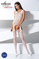Бодистокинг Passion BS061 white, комбинезон, имитация чулок, фото 1