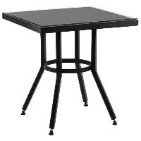 Стол Tilia Kobe 80x80 см столешница из стекла черный - черный , фото 1