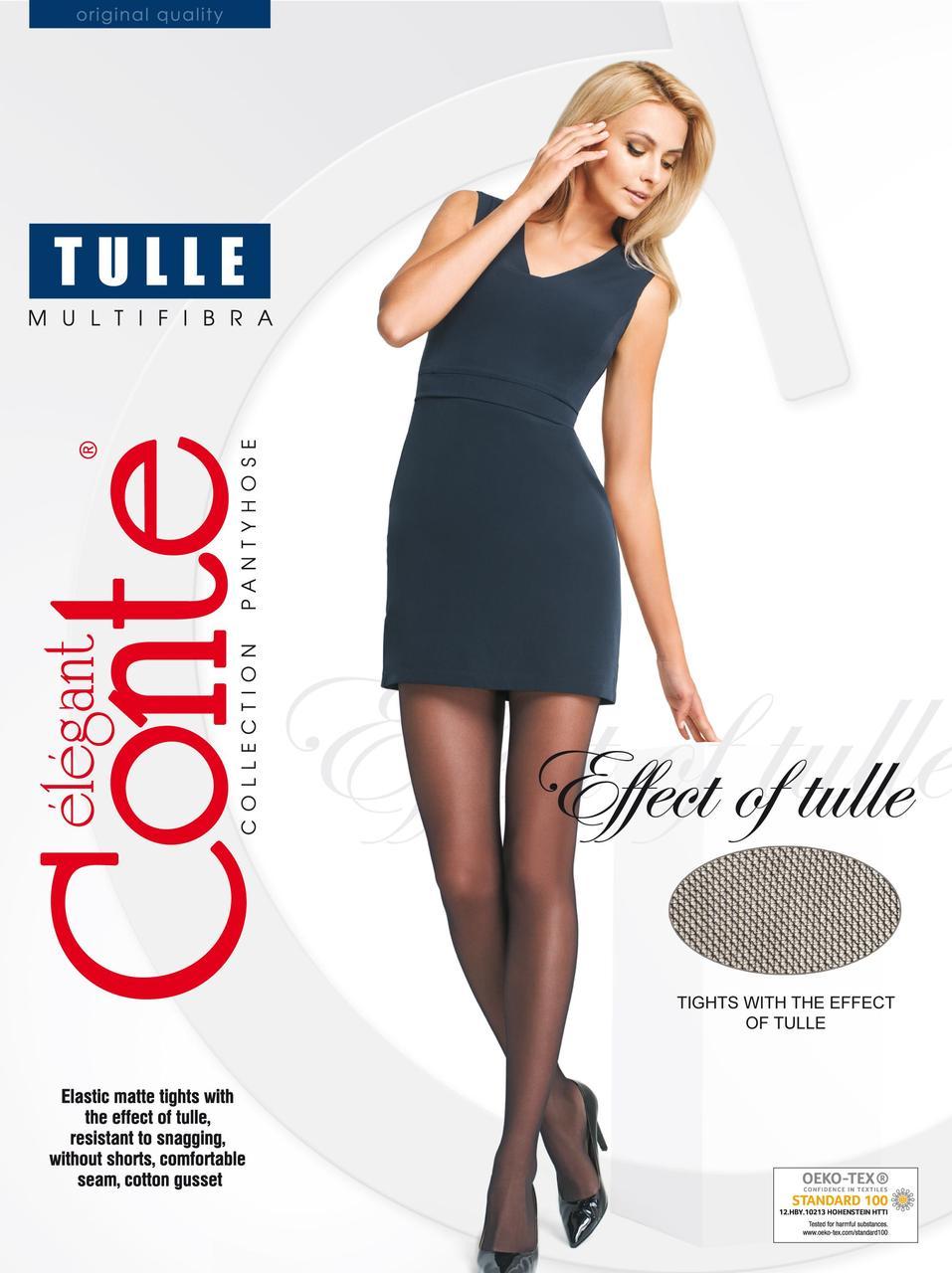 Жіночі тілесні матові колготки капронові Conte TULLE з ефектом тюлі стійкі до затягування