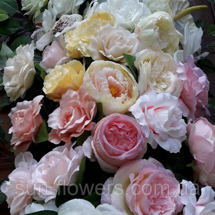 Гирлянда бело-розовая цветочная