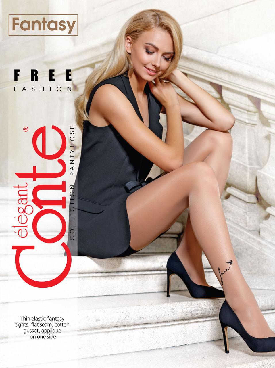 Жіночі колготки з тату-малюнком тілесні капронові Conte fantasy free 20 Den