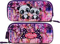 Пенал для девочки жесткий Winner One яркий фиолетовый в клетку с пандами рисунок с обеих сторон