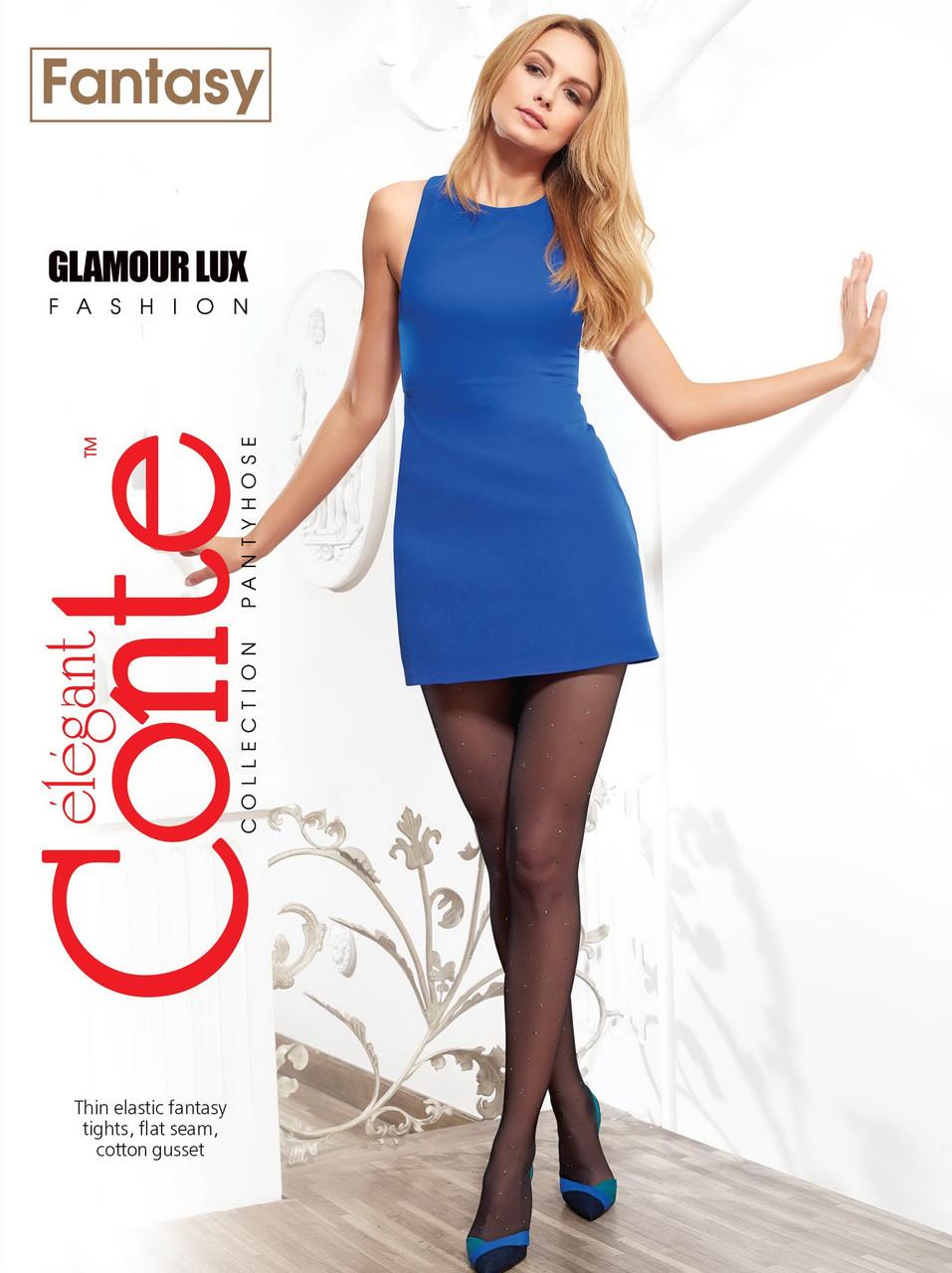 Жіночі колготки в блискучу крапку Conte fantasy glamour lux