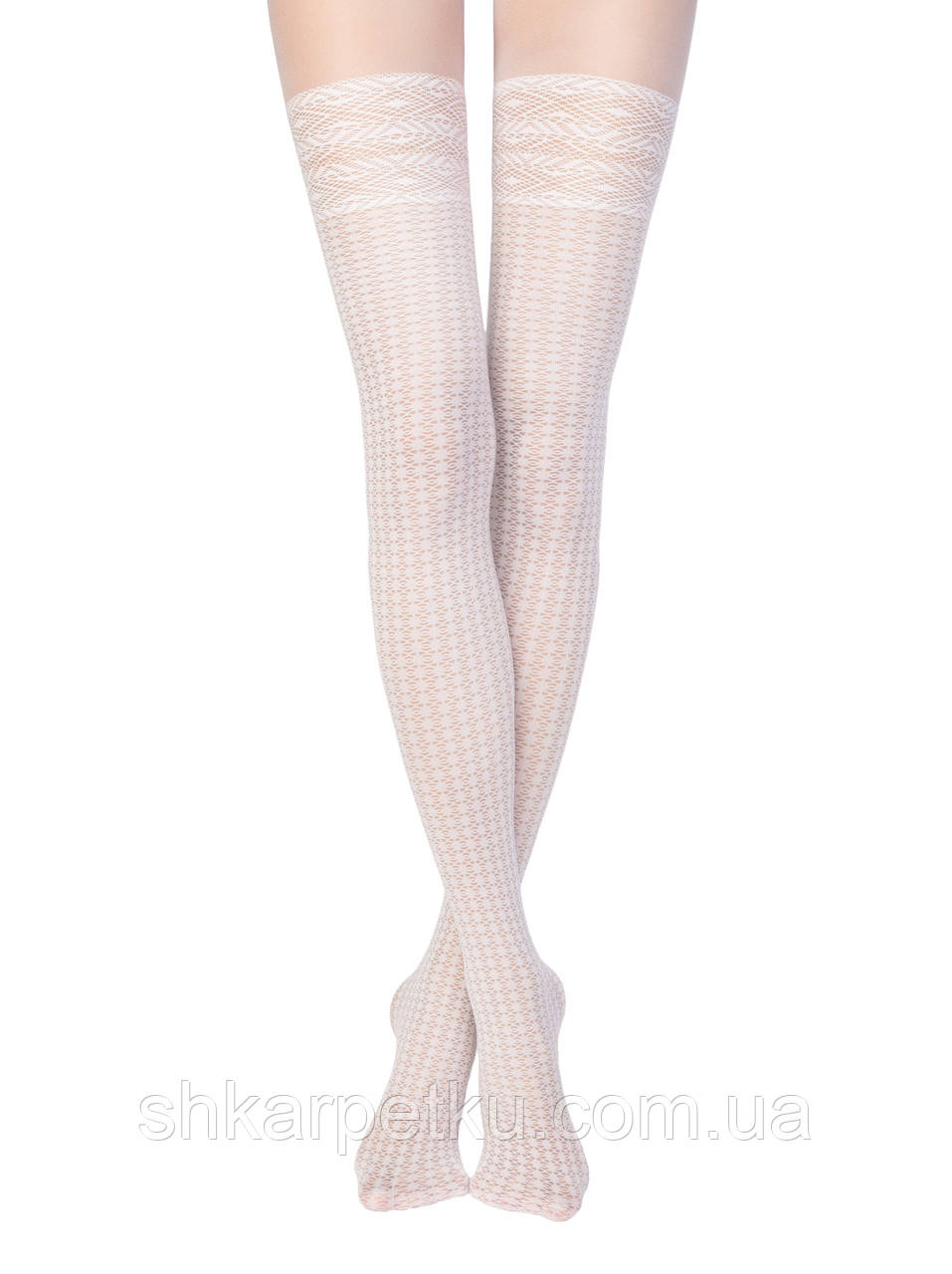 Жіночі білі колготки Conte fantasy intense з імітацією ажурних панчіх 40 den