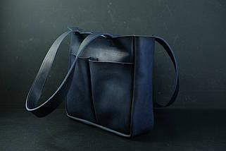 Шоппер з двома кишенями Шкіра Італійський краст колір Синій, фото 2