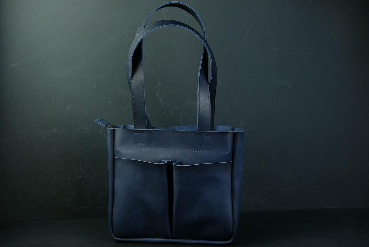 Шоппер з двома кишенями Шкіра Італійський краст колір Синій